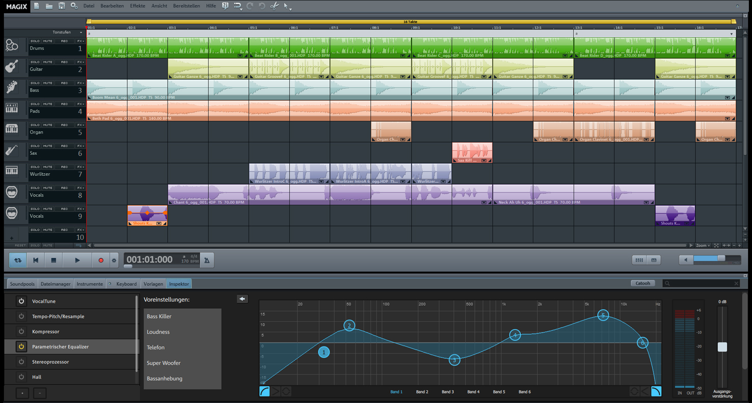 Musikprogramm Music Maker 2016 Screen