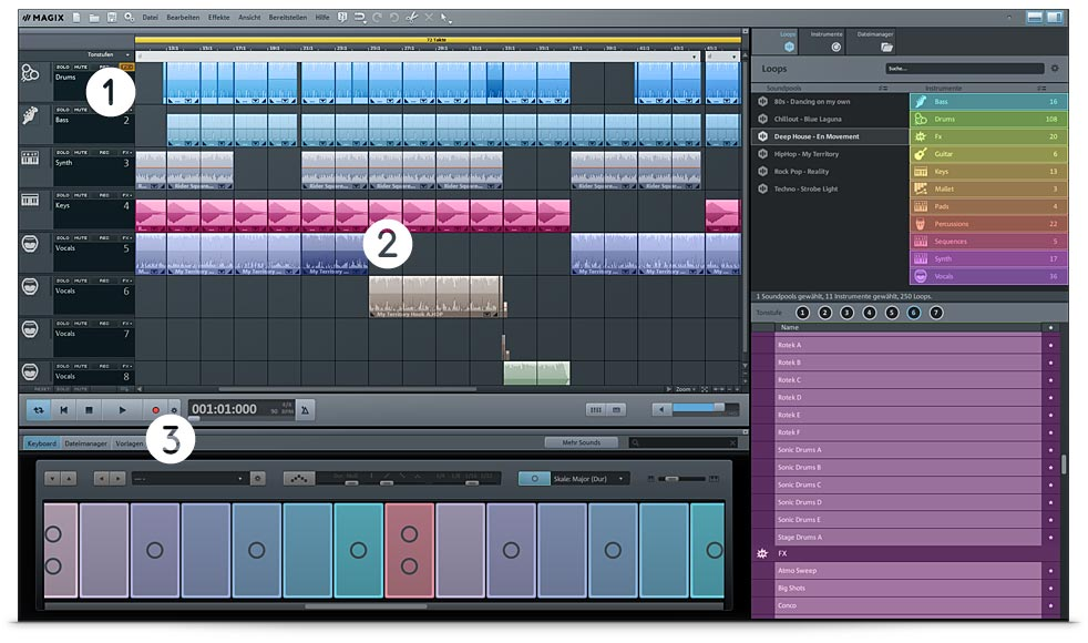 Musikprogramm MAGIX Music Maker Screen